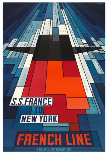 Shipping Poster, French Line from Southampton: S.S. France to New York. By John Bainbridge